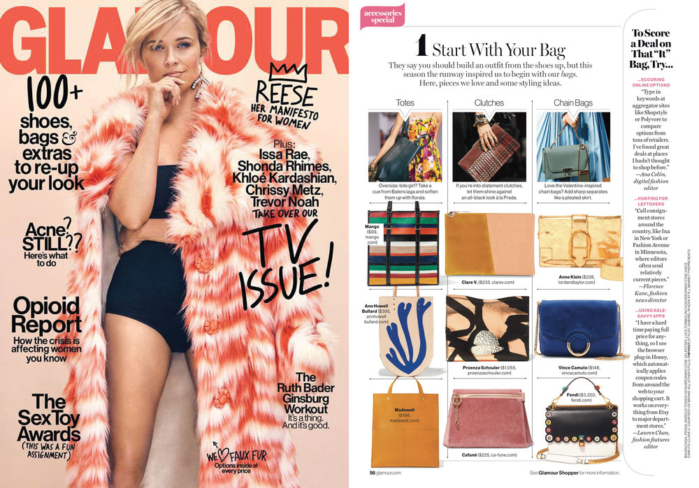 01-10-2017 START WITH YOUR BAG   Glamour picks our  Dusty Rose Camber Clutch  as a seasonal favourite