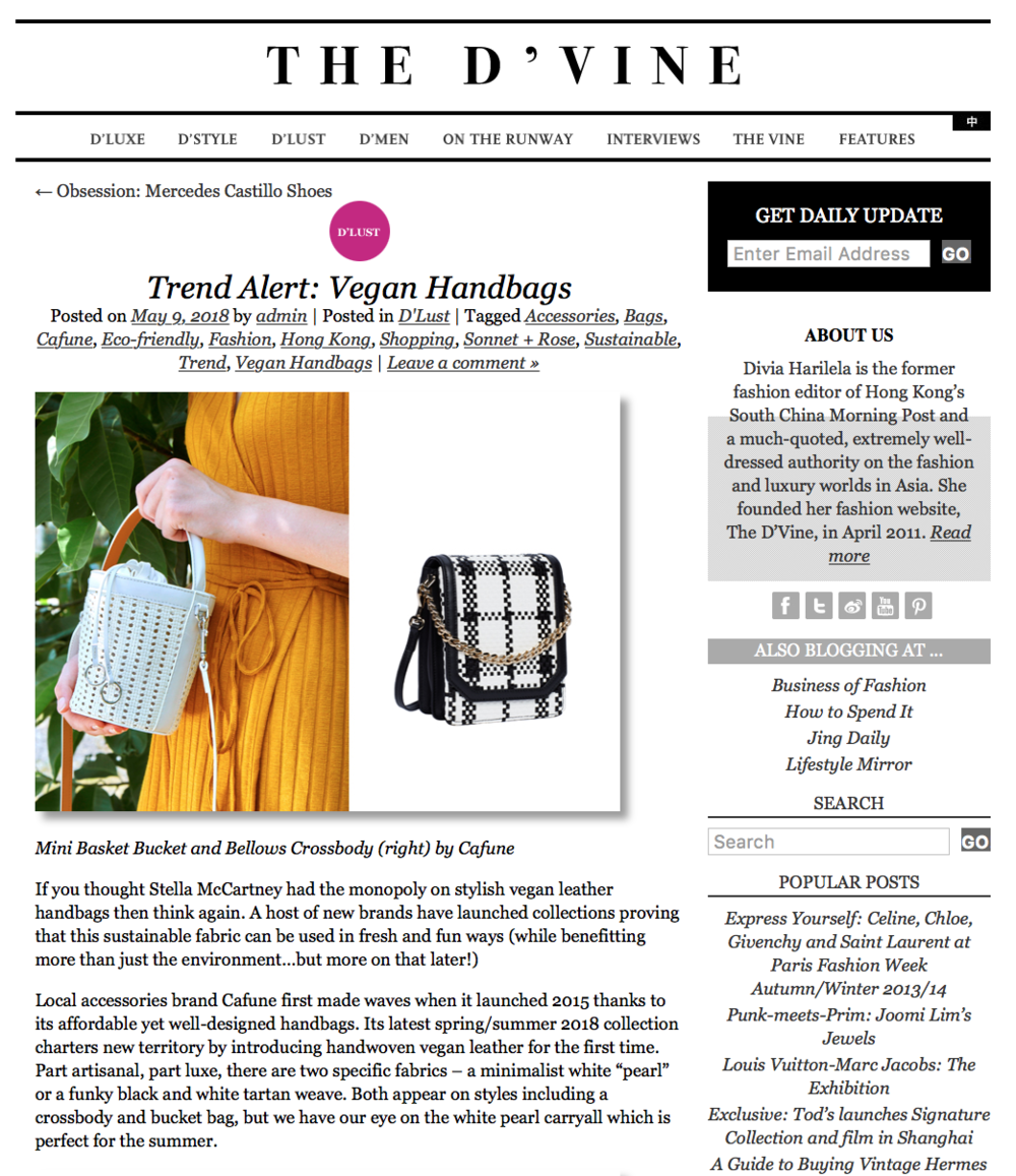 "09-05-2018 Trend Alert: Vegan Handbags   ""Part artisanal, part luxe, there are two specific fabrics – a minimalist white ""pearl"" or a funky black and white tartan weave"". Perfect summer bags."