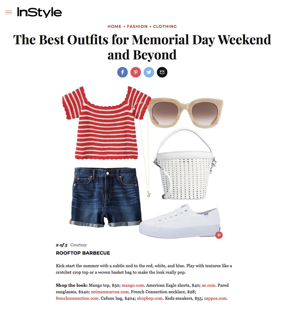 "14-05-2018   The Best Outfits for Memorial Day Weekend and Beyond   Instyle pro tips - ""Play with textures like a crotchet crop top or a woven basket bag to make the look really pop"""