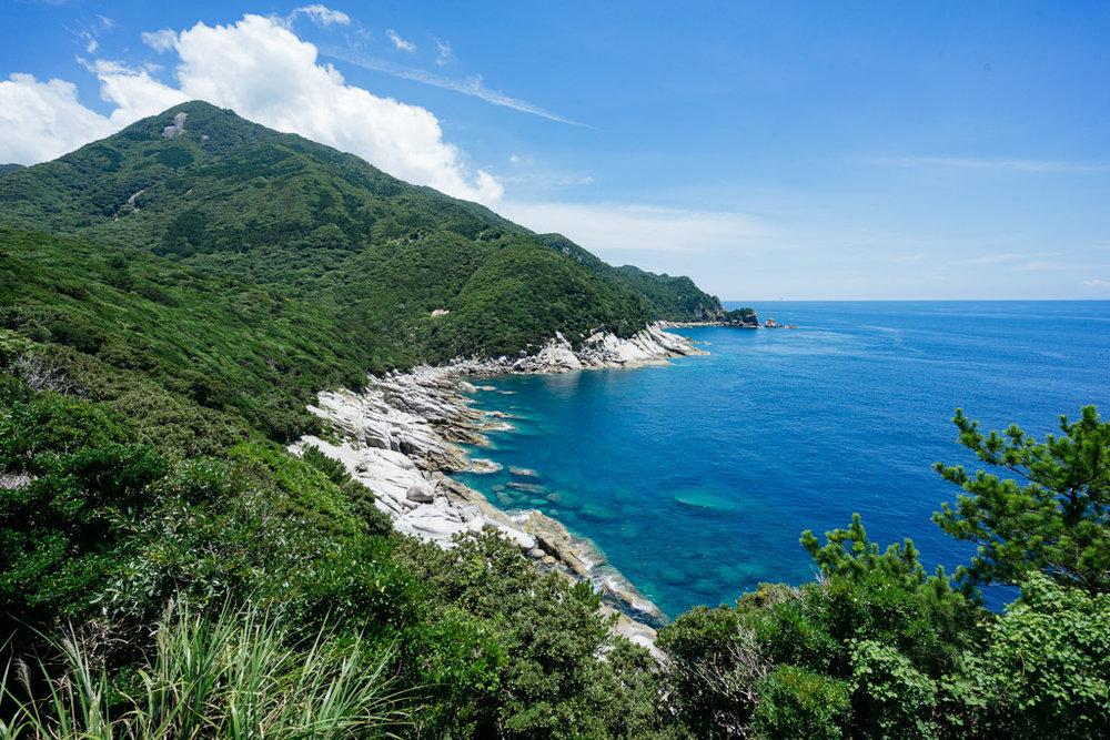Yakushima Island's beautiful coastline surrounded by lush green forest.
