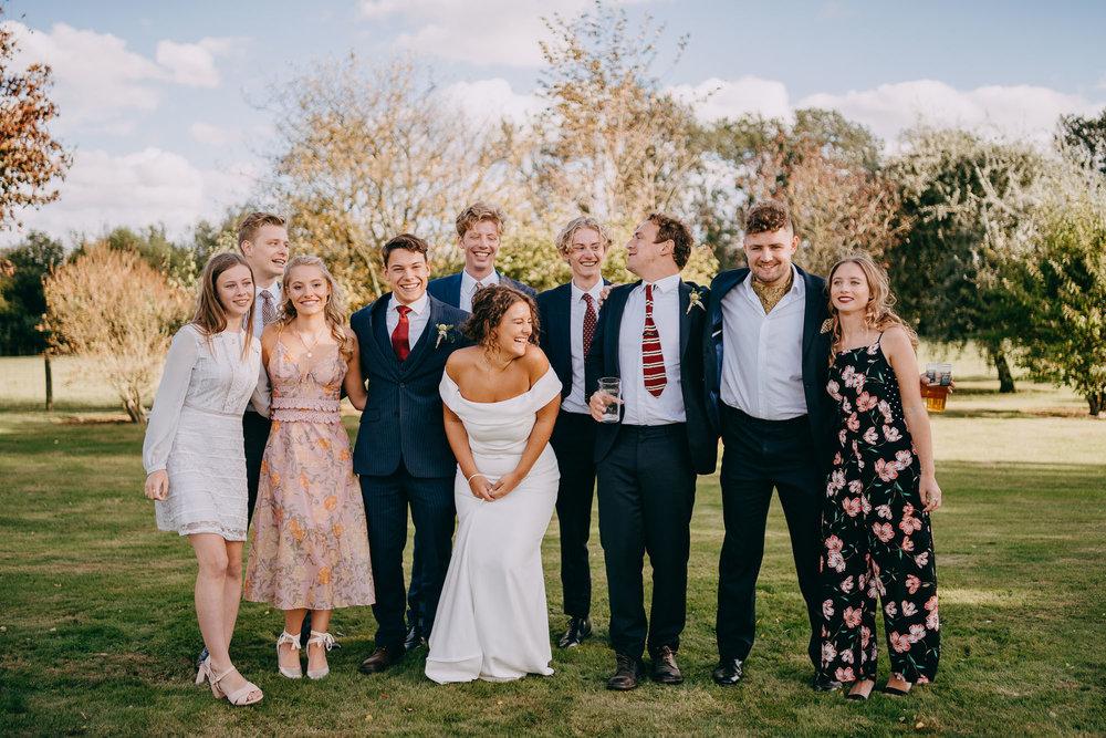 Group Portrait during Canterbury Wedding, Kent