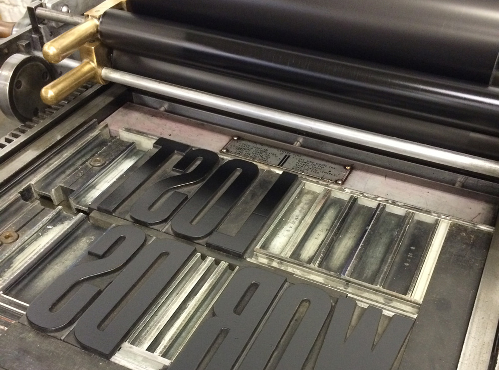 On press: woodtype on the Vandercook No. 4