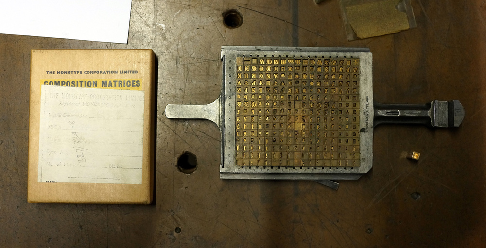 A Monotype Matrix, just part of the collection at The Type Archive (© Richard Small)