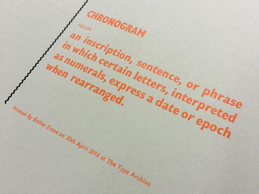 Letterpress Workshop. Final Letterpress Print at the Type Archive.