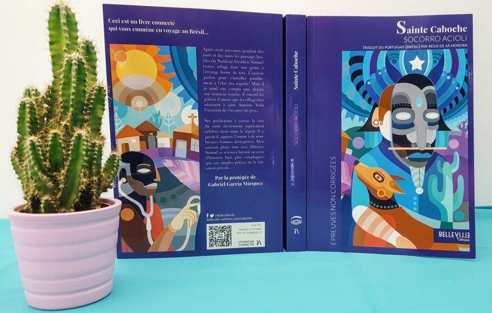 « Chez Belleville, chaque livre est illustré par un artiste du pays de l'auteur. Pour le premier roman de la maison, Sainte Caboche, nous avons eu la chance de travailler avec Fernando Chamarelli, un street artist aux magnifiques œuvres colorées, remplies de créatures exotiques étranges. »