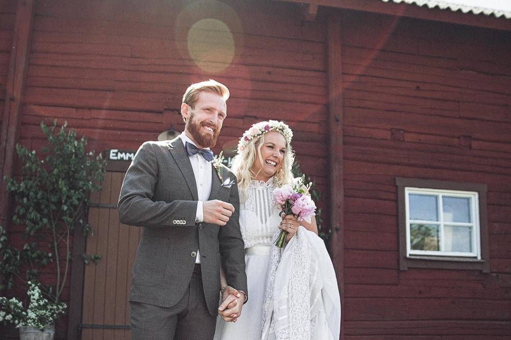 Lantligt och bohemromantiskt bröllop