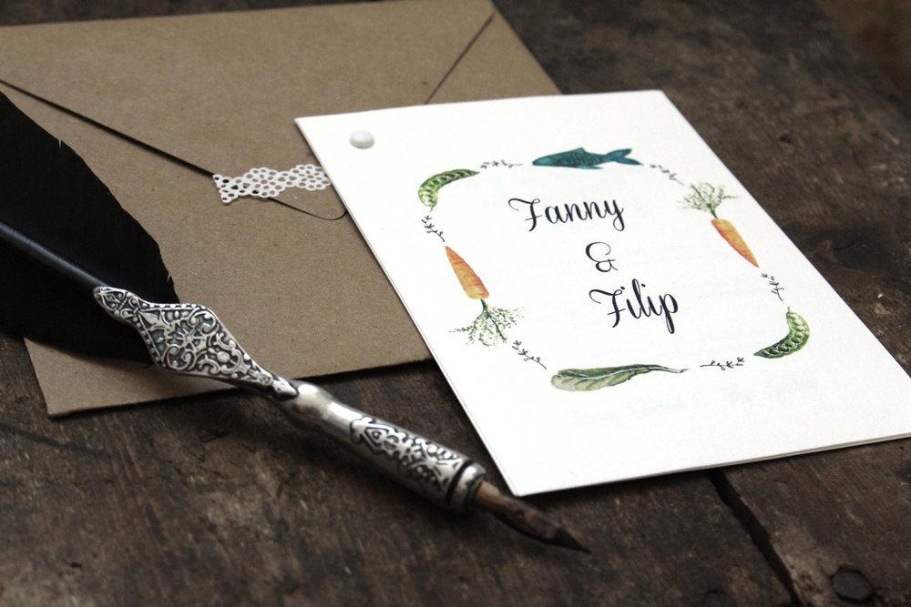 Inbjudningskort till bröllop med skördefest