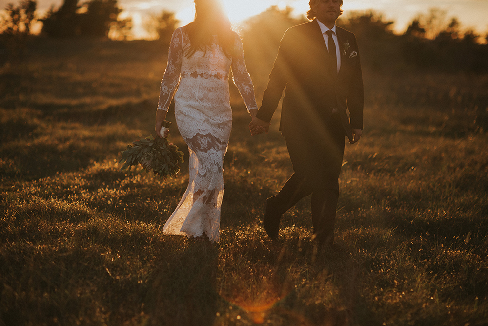 Solnedgång bröllop