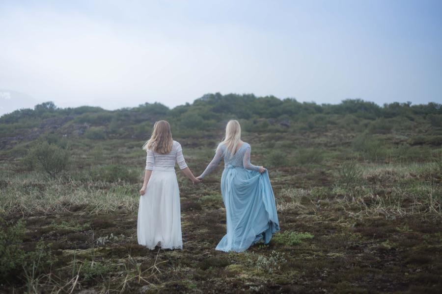 Brudklädsel alternativ blå kjol