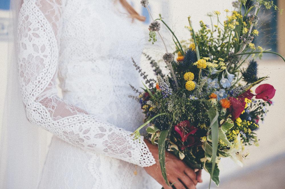 brudbukett bröllop bohemiskt