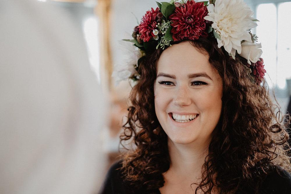 bröllop blomsterkrans