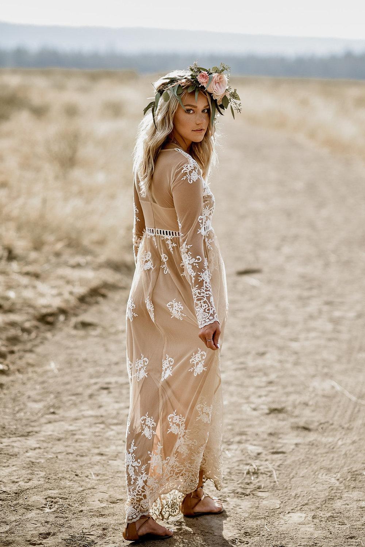 boho+brudklänning+bohemisk+klänning?blomsterkrans