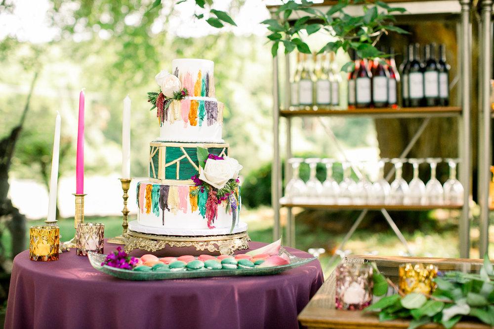 bröllop+bohemisk+färgglad+tårta