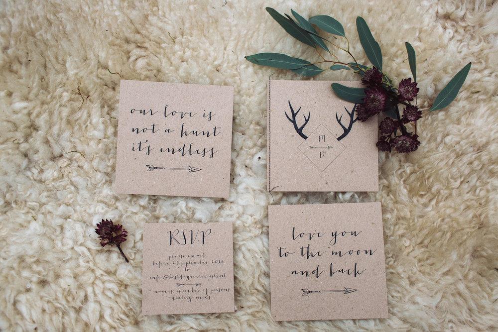 bröllop+elopement+boho+rustic+trycksaker