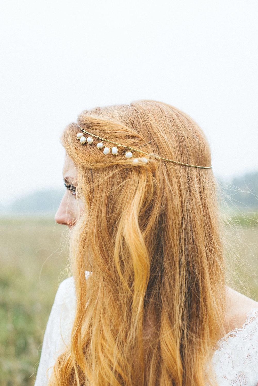 Lantligt bröllop hårsmycke