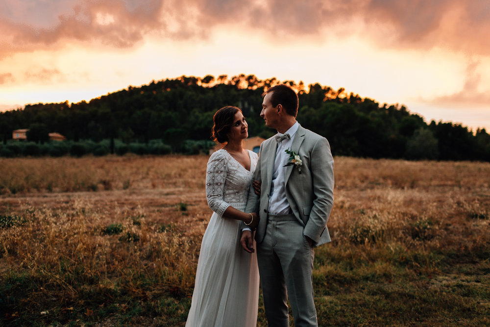 Sunset portraits wedding