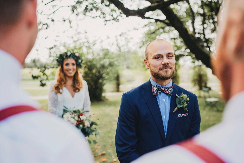 first look + bröllopfotograf