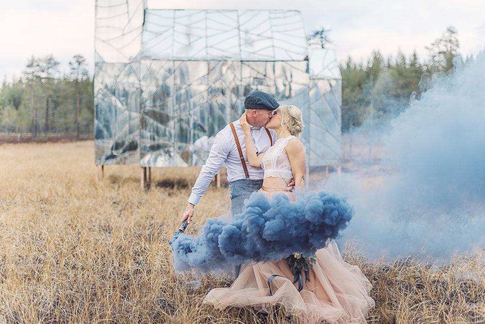 Tyllkjol + rökgranat + bröllop