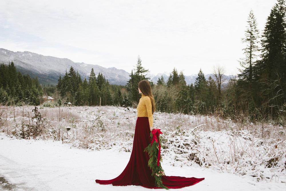 röd brudkjol vinterbrud