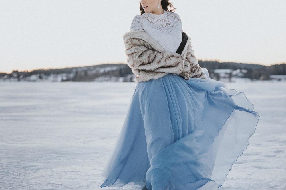 Blue tulle skirt by Ellen Marie Bridal