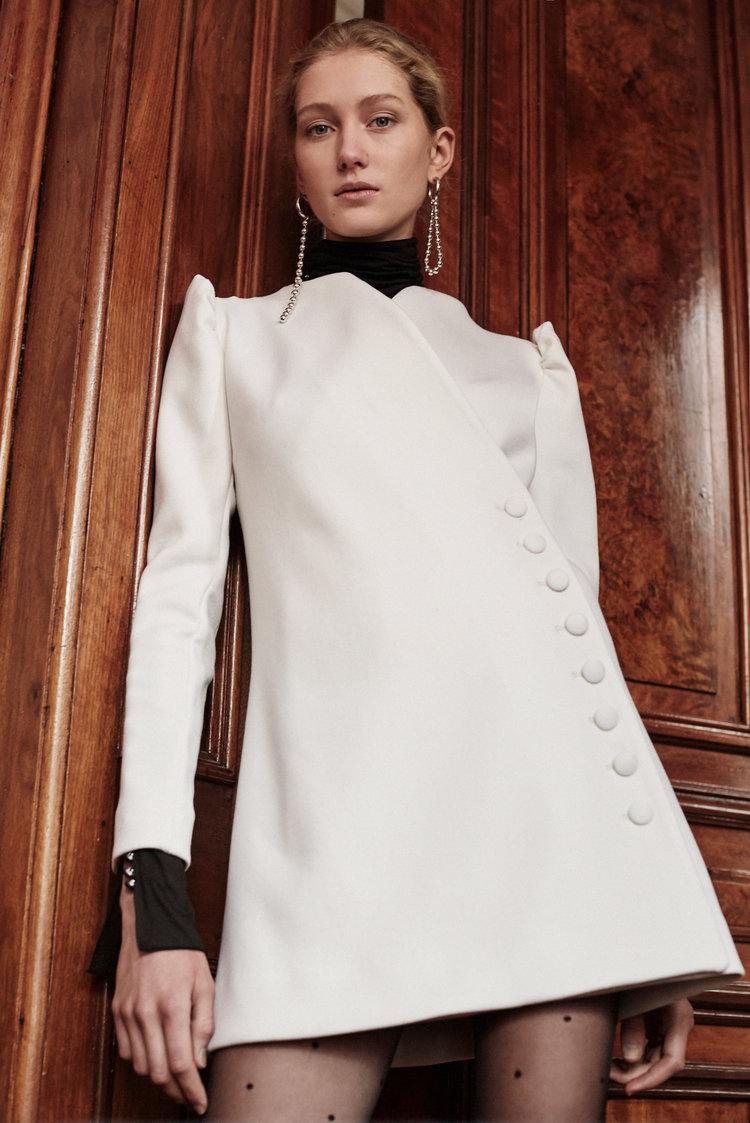 Wool Side Button Wrap Dress