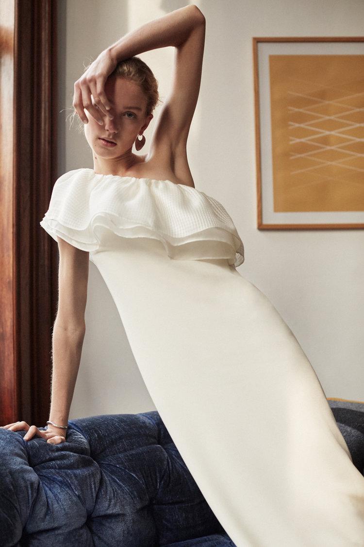 Silk Organza One Shoulder Gown