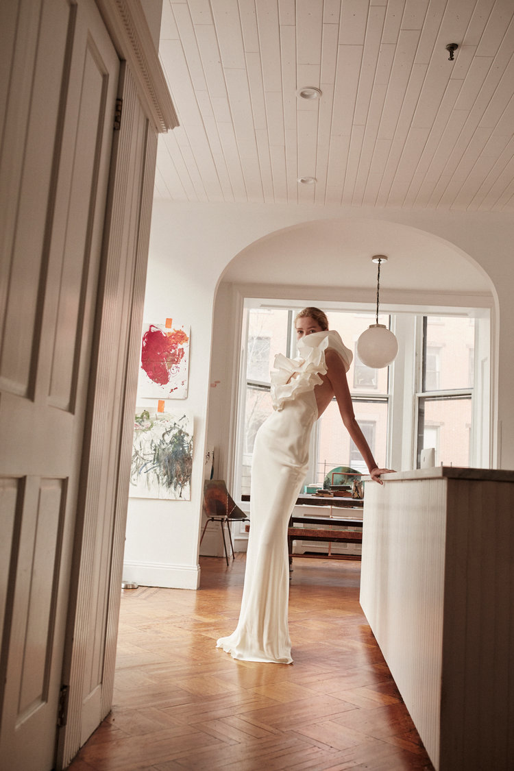 Taffeta Ruffle Gown