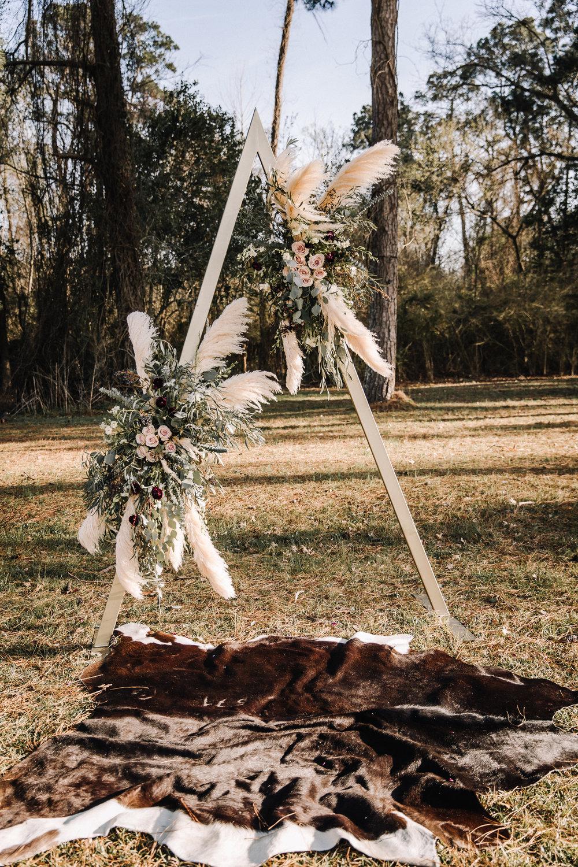 boho wedding arch pampas