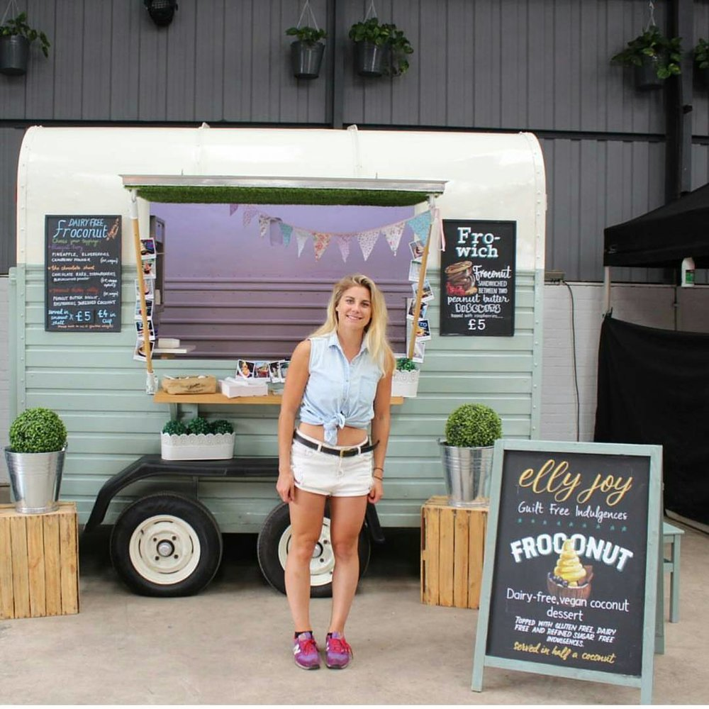 Elly Blackwell - Thirdly, it's the turn of pocket rocket Elly. As a northern lass she might be an unfamiliar name to some of you but watch this space because her brand of yummy dessert Froconut is growing at a rapid pace and we can totally tell why. In fact we couldn't just share a picture of Elly with her super cute trailer Nelly we had to show you some Froconut too! Healthy desserts just got a whole lot more interesting!