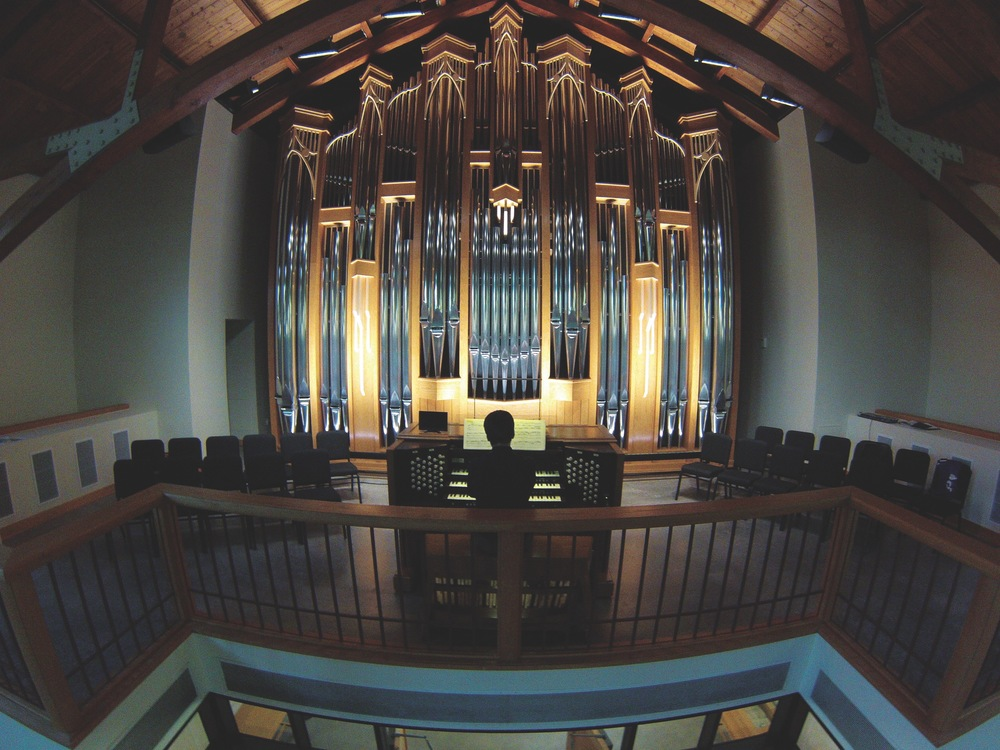 This image was captured using a small drone with a high-definition camera. The school received a new organ in the Fall of 2014 and there was hardly any angle that would fully represent the instrument. By flying the drone up in the chapel, I could finally capture the scale of the organ.