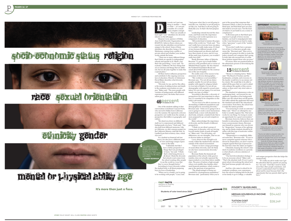 The large photos on the left hand page create a powerful dominant visual, divided by an expanded set of the labels that define diversity. While this leaves a lot of text to the right hand page, I used sidebars and infographics to break up the text.