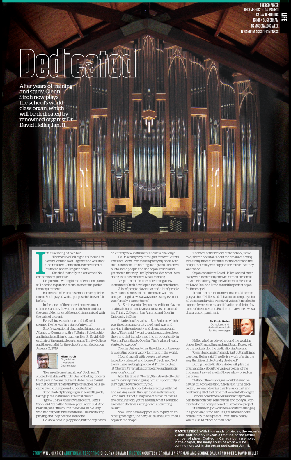 """With a full page photo, the placement of the story is always tricky, and the solution here was to place the copy in a box in the bottom half of the page, showcasing the stunning organ.   This design went on to win 2nd place in CSPA's Gold Circle Awards as part of my """"Single Page Design Portfolio."""""""