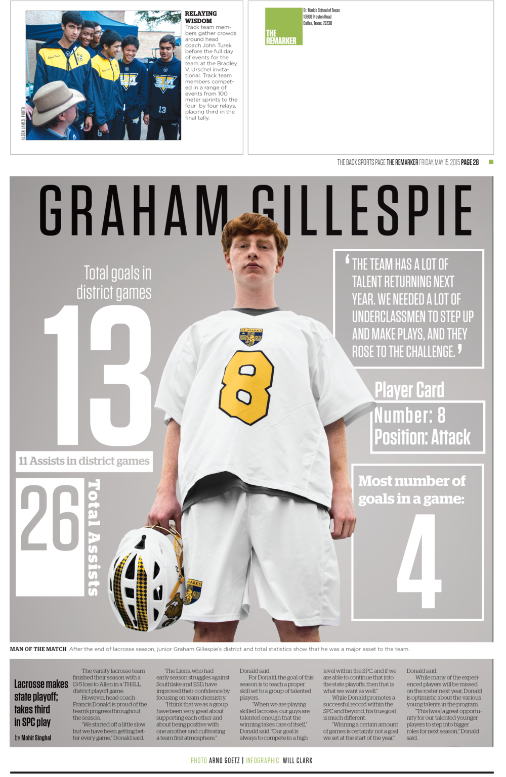 """This sports page design uses a wide array of statistics positioned around and behind the player, bringing the dominant visual to the forefront while still prominently featuring the numbers.   This design went on to win 1st place in CSPA's Gold Circle awards for """"Typography: The look of one page."""""""