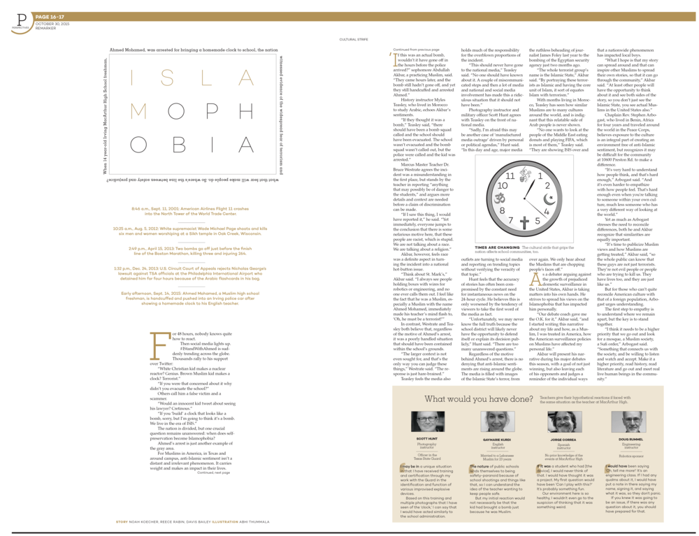 While this centerspread design is unconventional, it leads the reader through the story in a straightforward and linear fashion. I intentionally used white space and modules of content to break down the information, and the headline package, with its minimalist and spacious use of text, immediately stands out.   This design went on to win 3rd place in UIL's State award for Double Truck Design.
