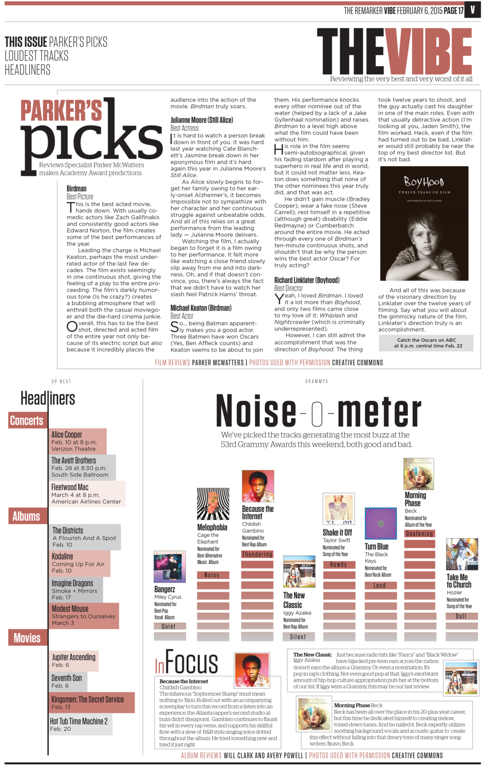 """I came up with the """"Noise-o-meter,"""" which received praise form the community and presented our take on the nominations for the upcoming Grammy Awards.   Part of my portfolio that received 2nd place in CSPA Gold Circle Awards for """"Single Page Design Portfolio."""""""