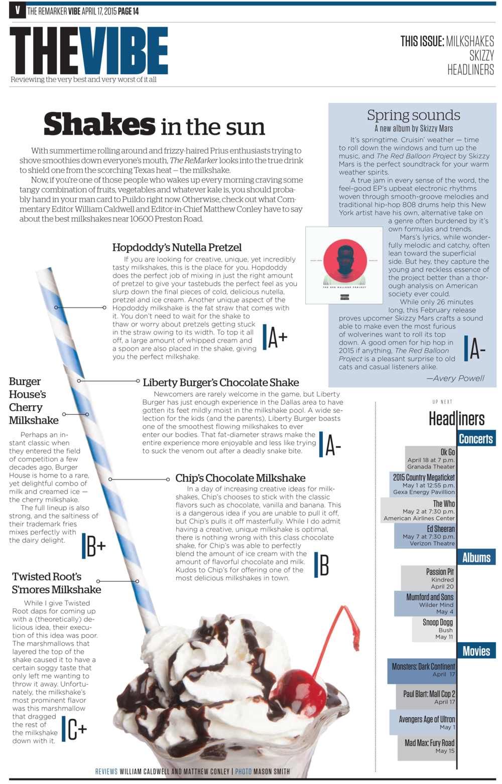 """Our design for this reviews page ranked the best milkshakes on the """"straw scale,"""" a quirky and original presentation that stood out from our normal reviews.    Part of my portfolio  that received 2nd place in CSPA Gold Circle Awards for """"Single Page Design Portfolio."""""""