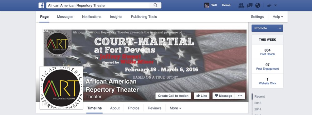 My banner design on the AART Facebook page.