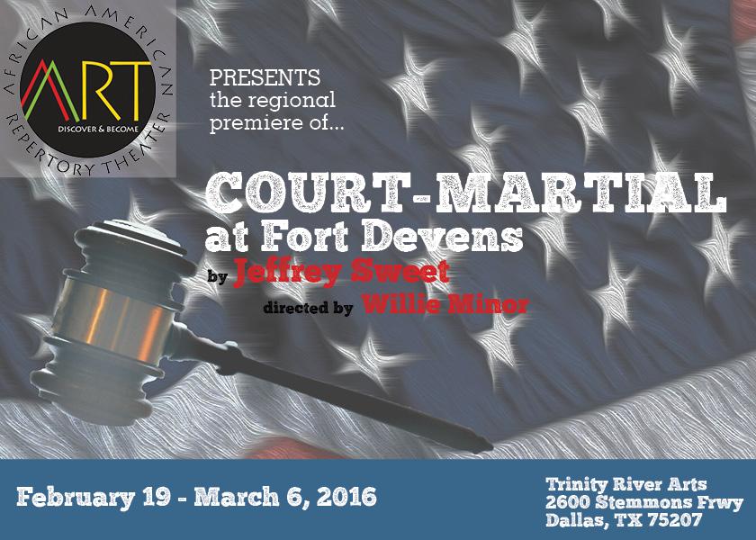 A postcard design for   Court-Martial at Fort Devens.