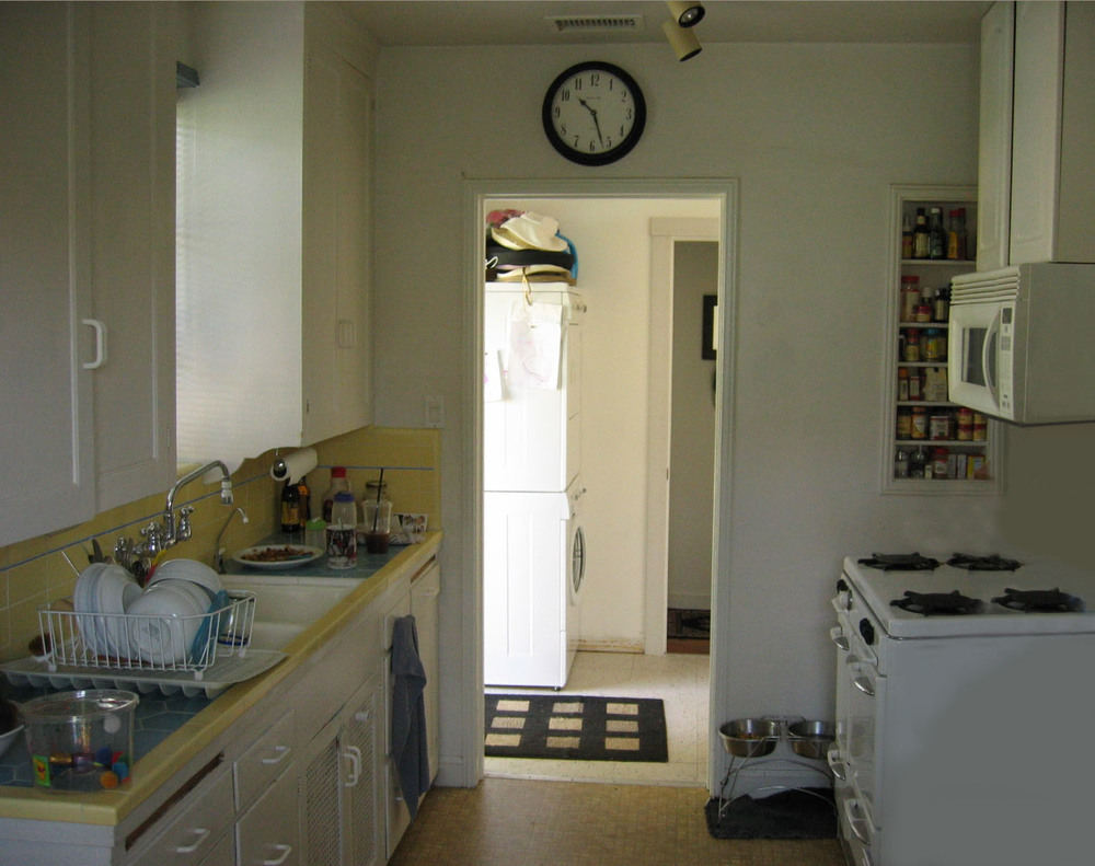 BEFORE:   Kitchen was dated, dark and cramped.  Its only connection was to the Laundry Room  .