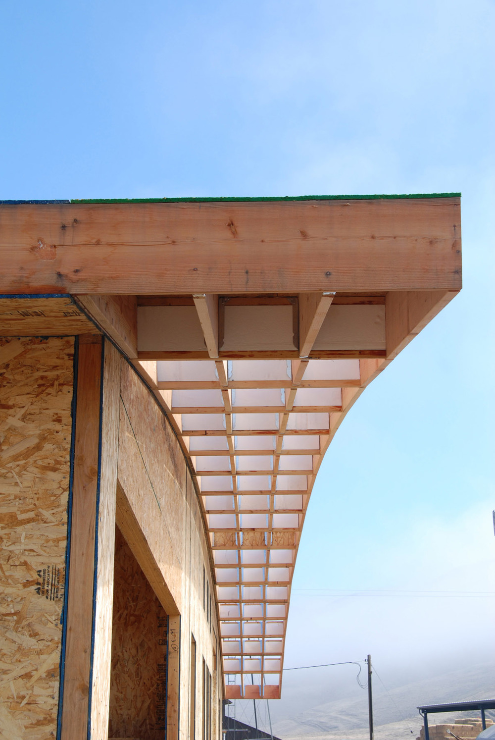 The only wood framing in the building - for a single deep overhang.