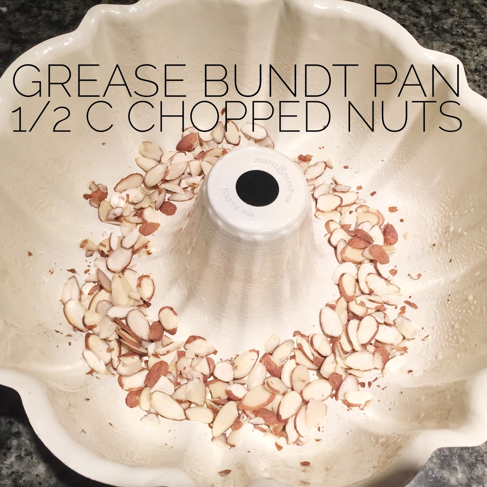 Grease a bundt pan, line the bottom with 1/2 cup chopped nuts.