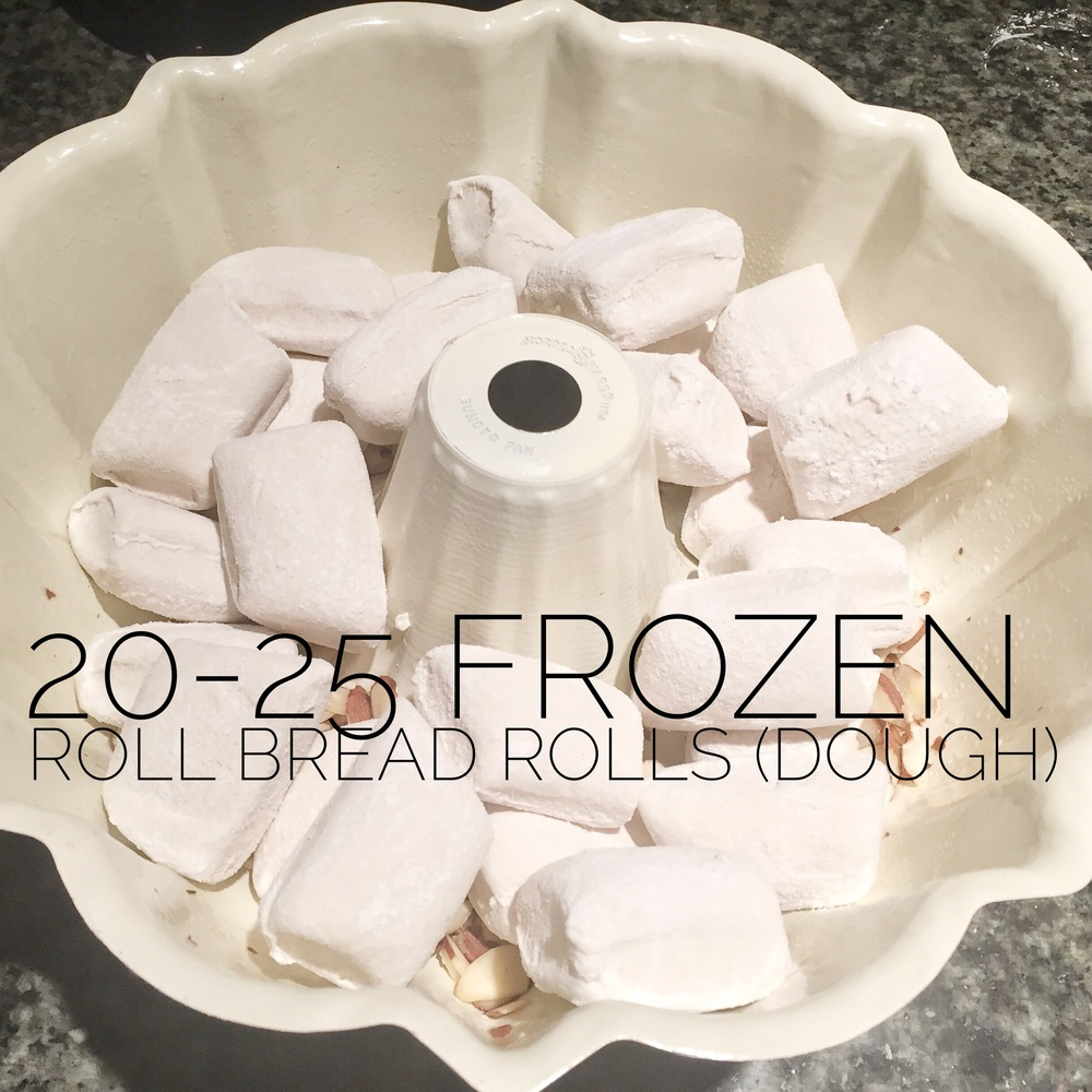 Add 20-25 frozen bread rolls (dough, not the precooked kind).