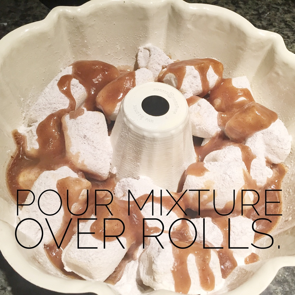 Pour sugar and butter mixture evenly over the rolls.