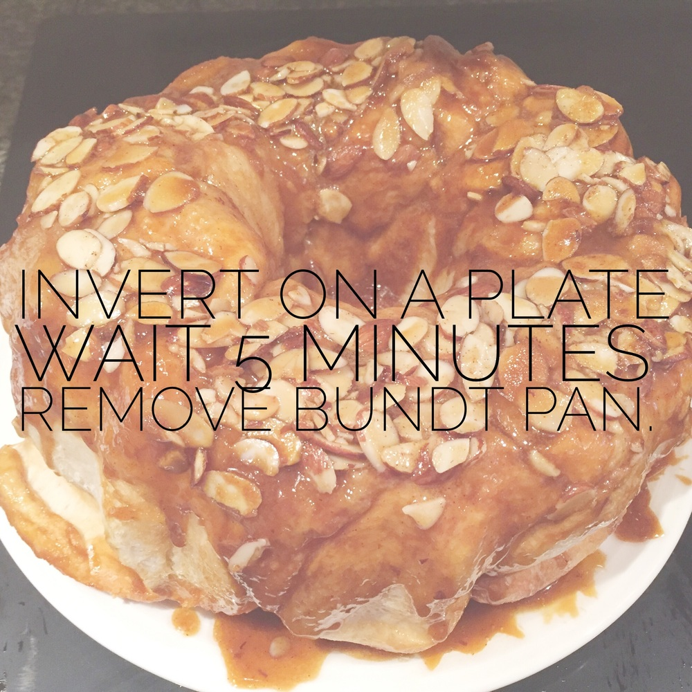 Invert on a plate and wait 5 minutes for rolls to loosen. Remove the bundt pan.