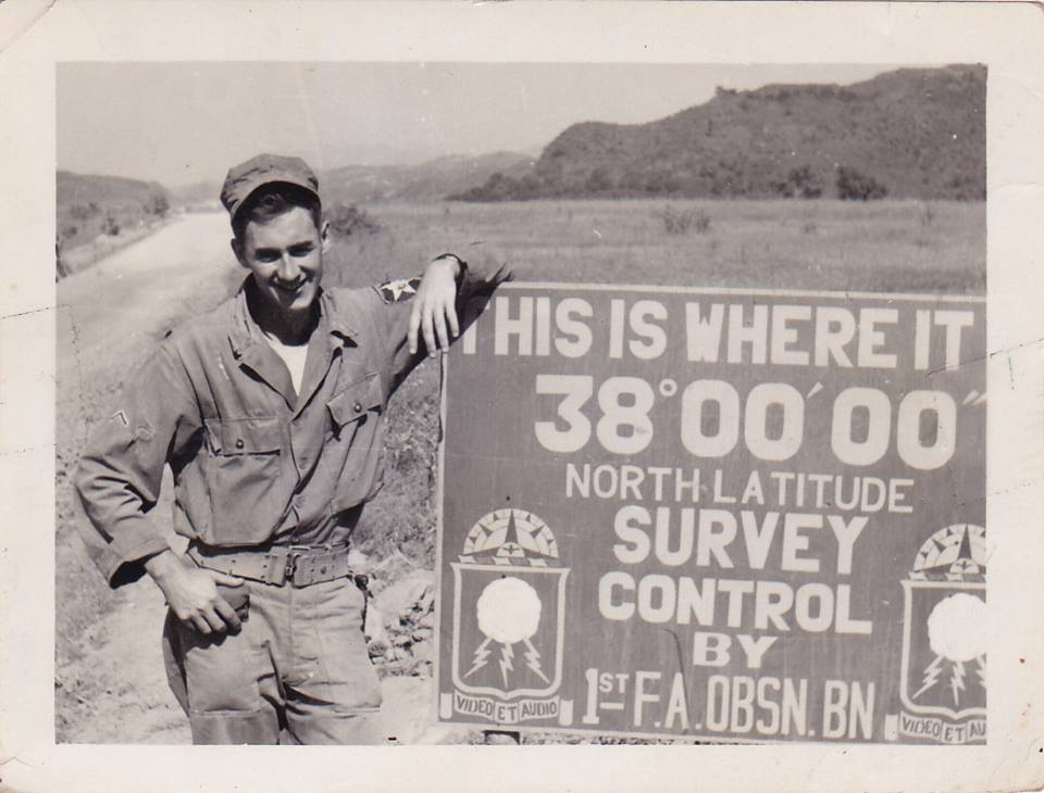 ARMY SARGEANT, SECOND INFANTRY DIVISION, SIGNAL CORP,  BERNARD JOSEPH VAUGHAN, MATERNAL GRANDFATHER OF JOHN-AUSTIN DIAMOND, IS PICTURED ABOVE AT THE 38TH PARALLEL DURING THE KOREAN WAR.  HE WAS INJURED IN COMBAT, RECEIVED NUMEROUS MEDALS AND PARTICIPATED IN THE BATTLE OF OLD BALDY.