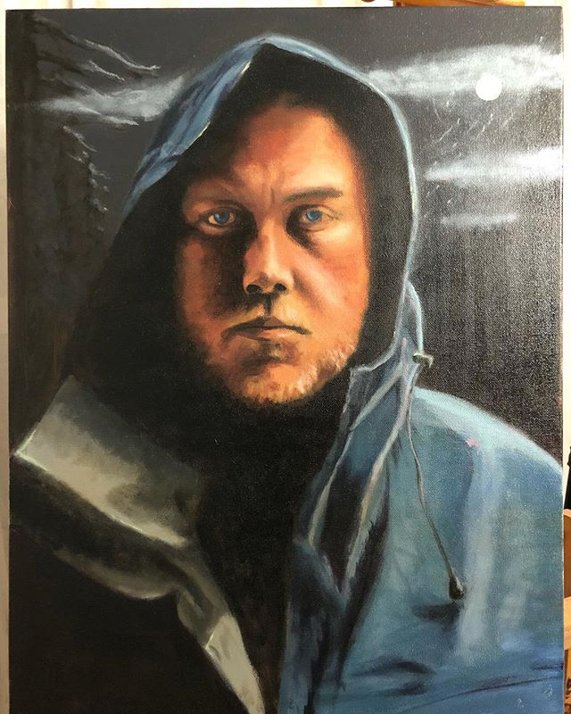 I've been so afraid to work on this for the past few months. I'm glad I waited, because i think I would have over complicated it,but I'm ready to finish it now. Goals are to add some atmospheric perspective and light consistency. . . . . . #painting #portrait #selfportrait #oilpainting #raincoat #campfire #camping #blueandorange