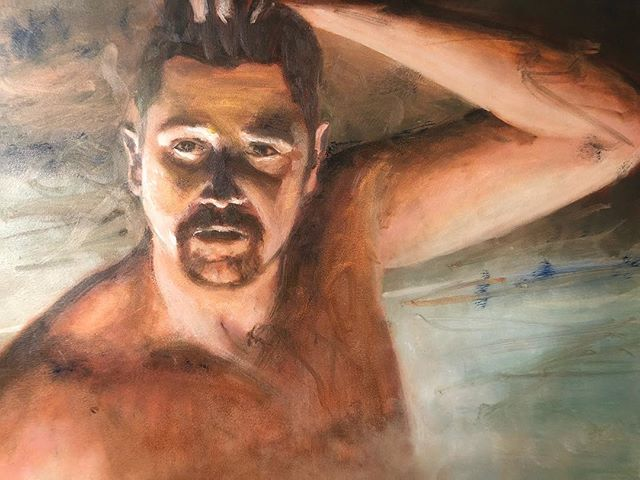 """Another Alla Prima portrait painting. This time larger for easier portraiture. Oil on 16"""" x 20"""" oil ground aluminum panel. I used a photo I took of @jeffgrfld on our ski trip. I wanted the challenge of having the light coming from below and I liked the contrast of the cool hot tub light glow and the warm skin tones. I was trying to go for a loose atmospheric affect from the steam of the hot tub. I might go back to it after it dries to add a little more glow. I'm also trying to have more faith in myself to trust my judgement and take artistic liberties rather than just painting what I see. My next painting is either going to be a still life or a landscape. . . . . . #portraiture #portraitpainting #portrait #allaprima #directpainting #wetonwetpainting #oilpainting #artwork #instaart #instaartist #gamblin #oilpaint #trekell #oilonaluminum #travissennett"""