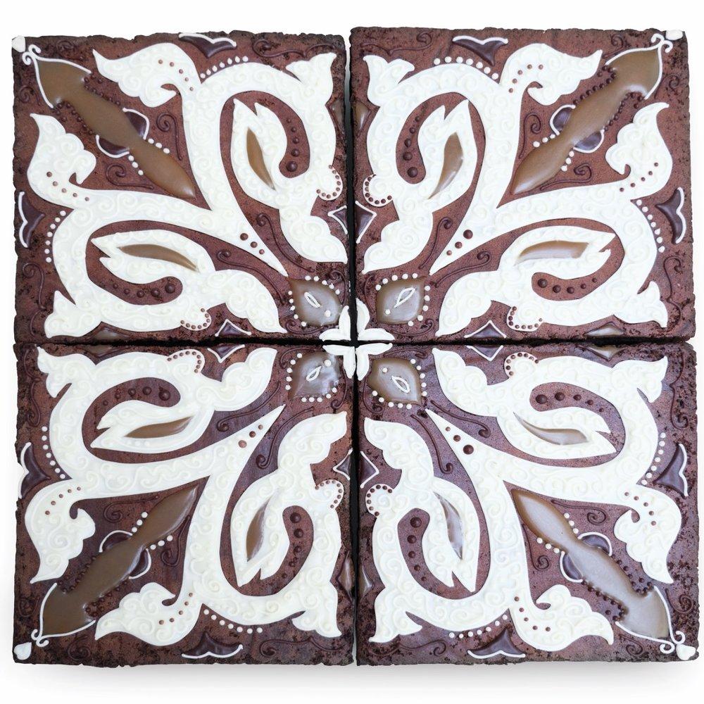 Chocolate salted caramel brownie tile pattern food art Maid of Gingerbread (2).jpg