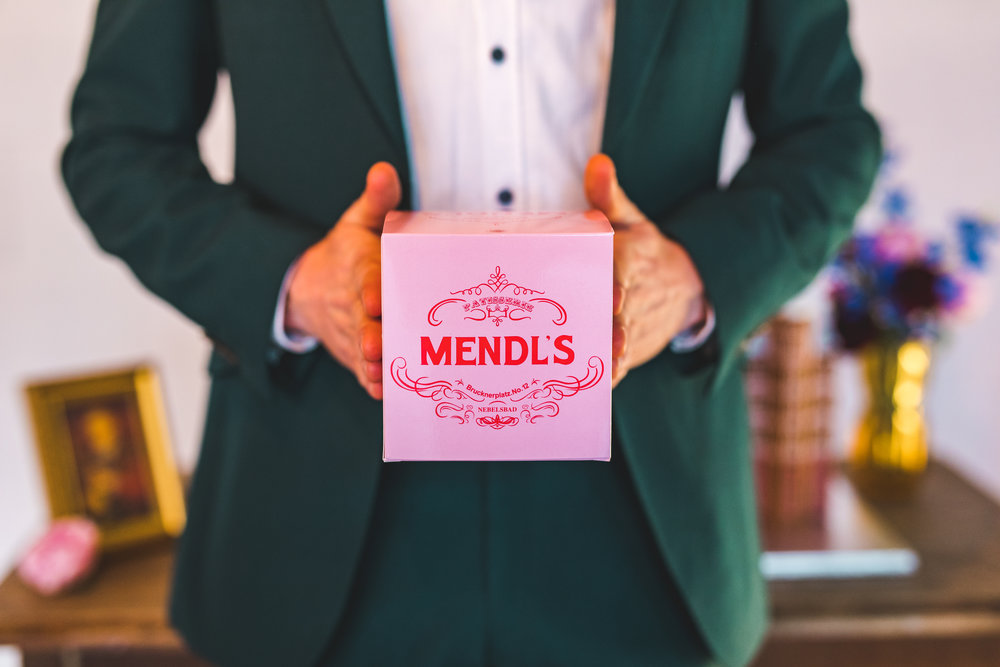 Mendl's cake boxes inspired by Wes Anderson's Grand Budapest Hotel. Photo by  Kirsty Mackenzie .