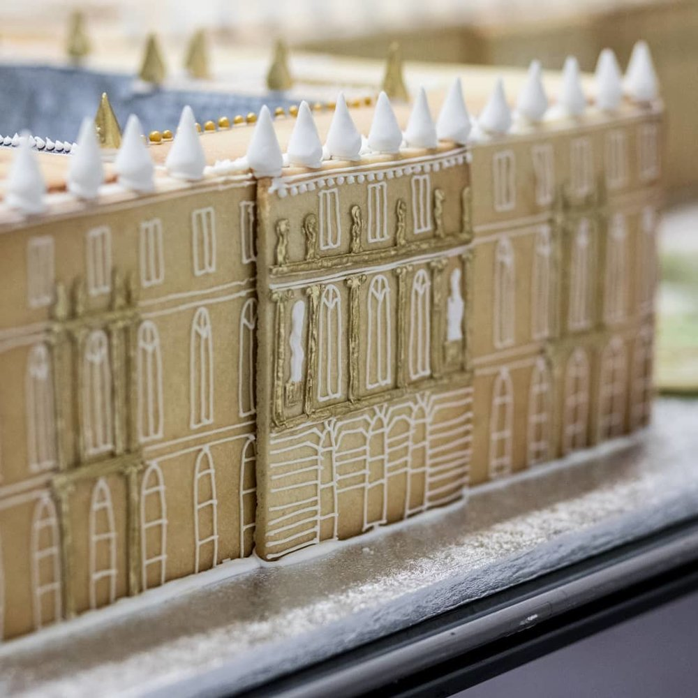 PALACE OF VERSAILLES FOR THE BRITISH MUSEUM  Created for The British Museum's summer party, constructed from vanilla and matcha green tea biscuits. (photo credit:  Eva Photography )